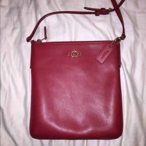 Red coach purse side body bag